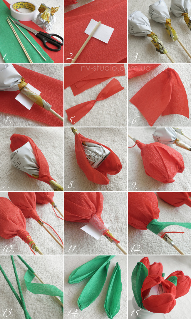 Цветы из гофрированной бумаги и конфет своими руками видео