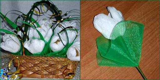 тюльпаны из крепированной бумаги и конфет своими руками