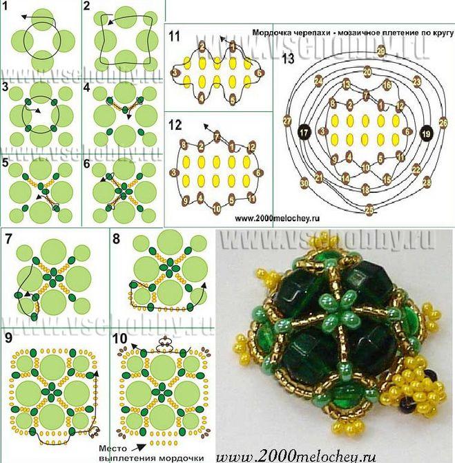Плетение бисером черепахи