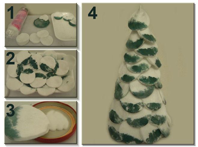 Как сделать поделку елочку из ватных дисков 8