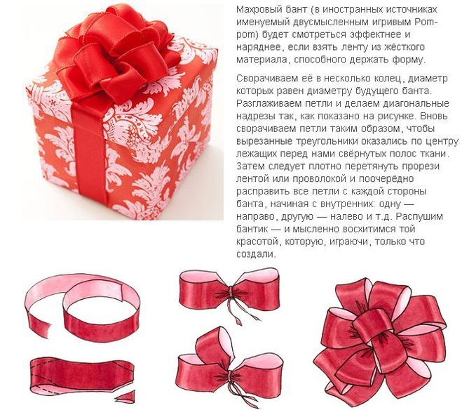 Сделать бант из атласной ленты на подарок на коробку 74