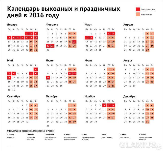 Официальные праздники и выходные дни в России /