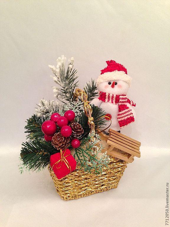 Новогодняя композиция со снеговиком своими руками
