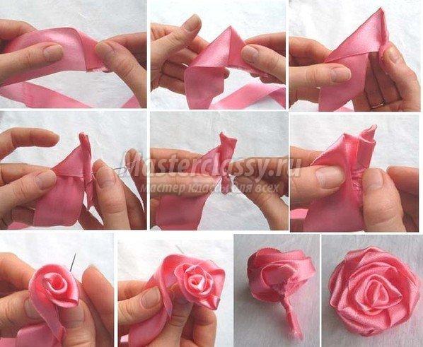 Роза из лент своими руками для начинающих 312