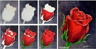 Роза рисунок красками поэтапно 69