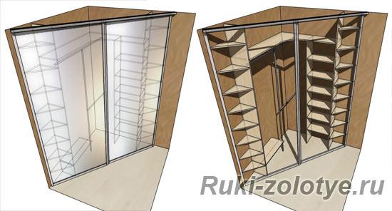 Встроенный угловой шкаф своими руками