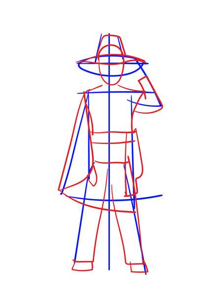Как нарисовать костюм карандашом поэтапно