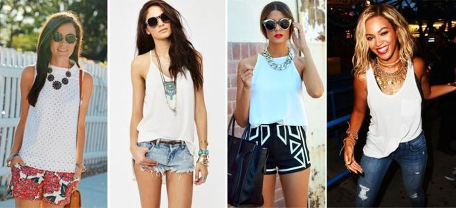 С чем носить белую футболку летом