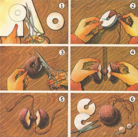 Помпоны для шапки из ниток своими руками пошагово 99
