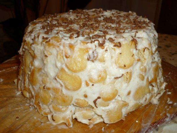 Торт из банана сметаны и крекеров фото