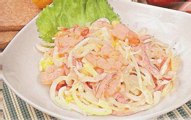 Рецепт салат с кальмаров