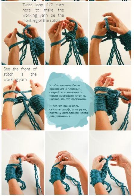 Як зв'язати шарф-хомут без спиць і гачка?