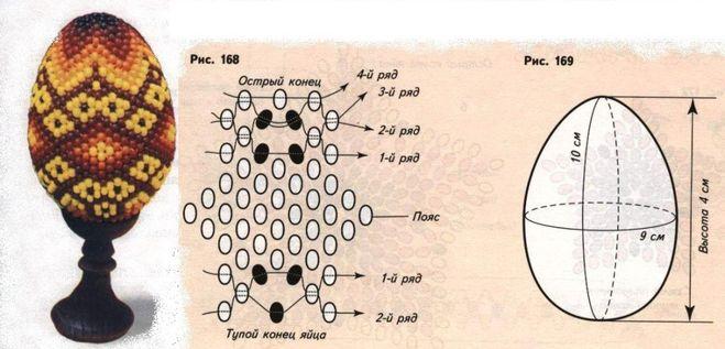 Схема плетение бисера яйцо