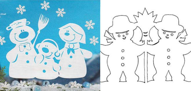Снеговик на новый год для вырезания