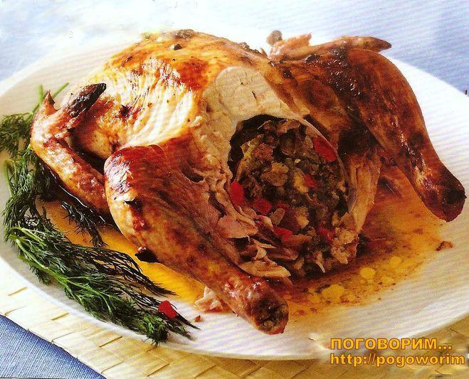 Курица без костей фаршированная в духовке целиком