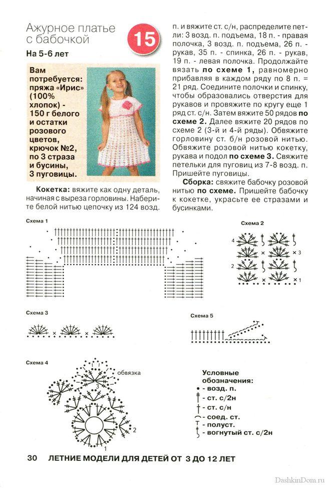 Схема вязаного платья на 1 годик