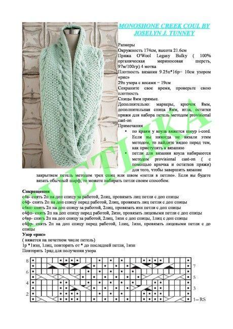Узор вязания шарфа 72