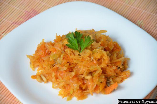 Жареная капуста с мясом рецепт с фото