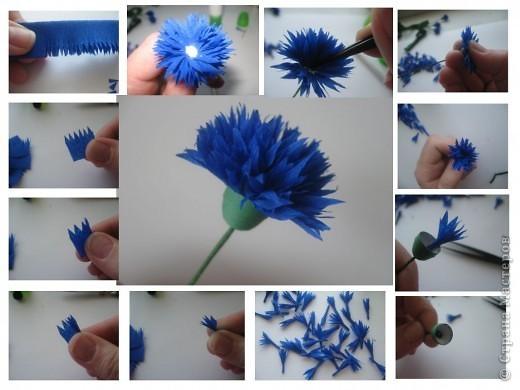 Как из бумаги сделать василёк 137