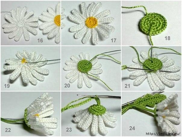 Вязание цветок ромашка схема 162