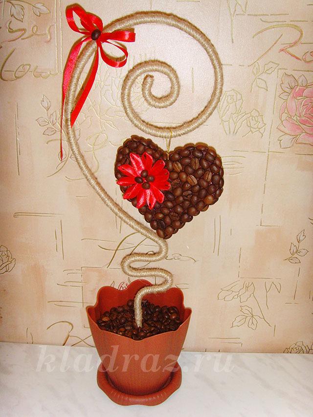 67Топиарий из кофе  сердечко